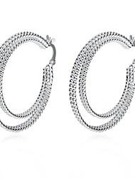 Серьги-кольца Стерлинговое серебро Серебрянное покрытие Сплав Мода Заявление ювелирные изделия Круглой формы Белый БижутерияДля вечеринок