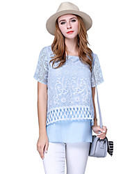 Women Chiffon Blouse O-Neck Short Sleeves Crochet Lace Back Split Large Size Top