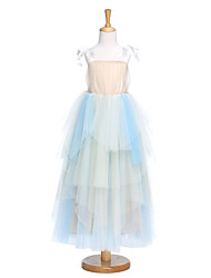 A-line Tea-length Flower Girl Dress - Tulle Sleeveless Straps with Bow(s) / Draping