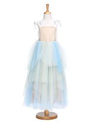 LAN TING BRIDE Linha A Longuette Vestido para Meninas das Flores - Tule Alças com Laço(s) Pregueado
