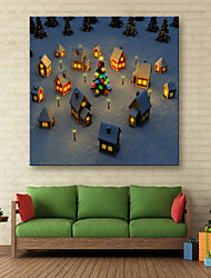 E-HOME® Stretched LED Canvas Print Art Our Small Village Christmas Series LED Flashing Optical Fiber Print One Pcs
