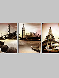 Stretched Canvas Art Famous Architecture Set of 3