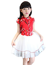 Girl's Going out Floral Dress,Others Summer Blue / Red / White