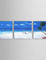 Stretched Frame Hand-Painted Oil Painting on Canvas Wall Art Modern Blue Seascape Home Deco 3 Panel Ready to Hang