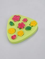 Triângulo forma flores e folhas chocolate fondant bolo cupcake decorando silicone moldes cor aleatória