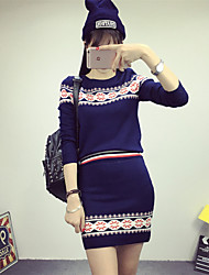 Women's Casual/Daily Vintage / Cute Winter  SkirtGeometric Round Neck Long Sleeve Blue / Red