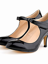 Damen-High Heels-Büro / Kleid / Lässig-Lackleder-Stöckelabsatz-Komfort / Rundeschuh-Schwarz / Blau / Gelb / Grün / Rosa / Lila / Rot /