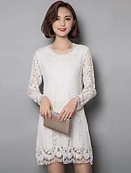 Women's Plus Size / Going out / Casual/Daily Vintage / Street chic Sheath / Lace DressSolid Above Knee Long Sleeve