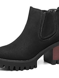 Damen-Stiefel-Büro Lässig-Wildleder-Blockabsatz-Modische Stiefel-Schwarz Grau