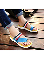 Men's Slippers & Flip-Flops Summer Comfort Leather Outdoor Casual Walking Flat Heel Lace-up White Black Blue