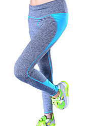 Women's Elastic Quick Dry Tights Patchwork Compression Long Sports Pants Fitness Running Leggings