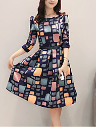 Women's Casual/Daily Vintage Sheath DressColor Block Round Neck Knee-length Long Sleeve Multi-color Polyester