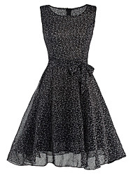 Damen Hülle Kleid-Lässig/Alltäglich Retro Punkt Rundhalsausschnitt Knielang Ärmellos Schwarz Polyester Sommer Hohe Hüfthöhe