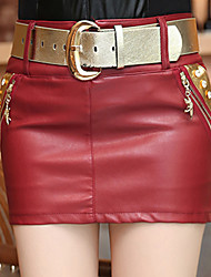 Women's Bodycon Solid Red / Black PU Leather Skirts with BeltStreet chic Mini