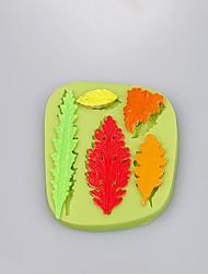 Forma de folha molde de 5 cavidades de silicone para chocolate fundido bolo moldar doces ferramentas cor aleatória