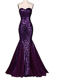 Formal Evening Dress Trumpet / Mermaid Sweetheart Floor-length Chiffon / Sequined with Sequins