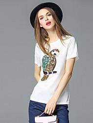 frmz Frauen Casual / Tages einfach Sommer t-shirtsolid Rundhals Kurzarm weiß