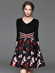CELINEIA Women's Going out Vintage A Line DressAnimal Print V Neck Above Knee  Sleeve Black Cotton / Polyester