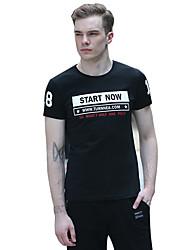 Tee-Shirt Pour des hommes A Motifs / Lettre Décontracté Manches Courtes Coton Noir