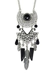 Tibetan Style Imitation Turquoise Feather Shape Pendant Necklaces