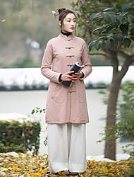 Ample Robe Femme Décontracté / Quotidien Vintage,Couleur Pleine Mao Mi-long Manches Longues Rose Lin Automne / Hiver Taille NormaleNon