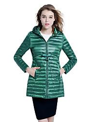 Women's Solid Slim Waist Light Down Coat,Simple / Street chic Hooded Long Sleeve