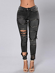 Women's Cut Out Solid Hin Thin Hole All Match Jeans PantsSimple