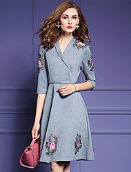 Women's Plus Size / Going out Sophisticated Sheath DressEmbroidered V Neck Knee-length  Length Sleeve Gray Polyester
