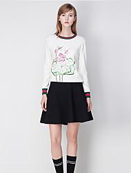 j&les femmes d de sortir cardiganprint régulière blanc col rond manches longues polyester chute moyenne micro-élastique