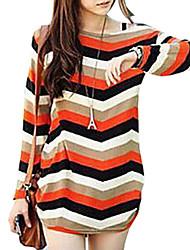Women's Round Neck Long Sleeve Stripe T-shirt