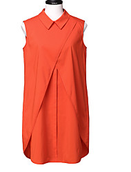 Goelia® Damen Hemdkragen Ärmellos Vest & Weste Orange-167C3A010