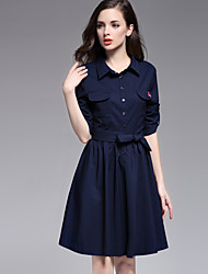 MISS FRENCH  Going out Simple Sheath DressSolid Shirt Collar Knee-length Length Sleeve Blue / Pink Cotton Summer