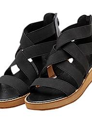 Women's Sandals Summer Platform / Sandals / Creepers PU / Fabric Outdoor / Casual Platform Split Joint / Zipper Black /