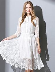 Feminino Bainha / Rendas / Swing Vestido,Casual / Trabalho / Tamanhos Grandes Vintage / Simples Sólido Decote Redondo Altura dos Joelhos