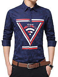 Men's Offset Printing Casual / Work / Formal / Plus Size Shirt Pure Cotton Slim Long Sleeve Black / Blue / Red / White