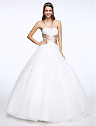 LAN TING BRIDE A-line Wedding Dress Simply Sublime Floor-length Sweetheart Tulle with Appliques Criss-Cross