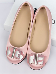 Girl's Flats Spring Fall Silk Casual Flat Heel Bowknot Blue Pink Red Other