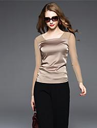 BOMOVO® Damen V-Ausschnitt Lange Ärmel T-Shirt Khaki-B16QAL7