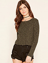 Women's Going out / Casual/Daily Simple / Sophisticated All Seasons T-shirtSolid Round Neck Long Sleeve