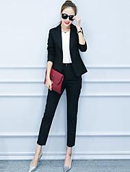 Women's Casual/Daily Vintage All Seasons Set PantSolid Peaked Lapel Long Sleeve White / Black Polyester Medium