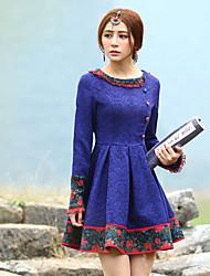 Gaine Robe Femme Sortie Vintage,Jacquard Col Arrondi Au dessus du genou Manches Longues Bleu Polyester Printemps / Automne Taille Haute