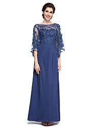 Lanting Bride®Sheath / Column Mother of the Bride Dress - Elegant / See Through Ankle-length Half Sleeve Chiffon / Lace with Lace