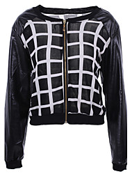Women's Plaid Patchwork Black Zipper Jackets , Casual Round Neck Long Sleeve