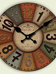 Moderne/Contemporain Traditionnel Rétro Bureau / Affaires Niches Famille Ecole/Diplôme Horloge murale,Rond Papier Autres 34CM/14英尺