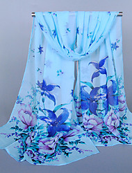 Women's Chiffon Flowers Print Scarf Blue/Red/Fuchsia