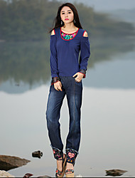 Our Story Women's Embroidered Blue Jeans / Loose PantsBoho Spring / Fall