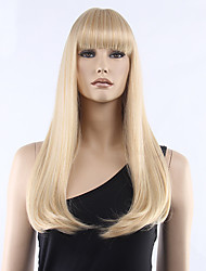 Top Grade Low Price Blonde Long Straight With Full Bang Synthetic Wigs