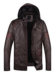 Men's Long Sleeve Casual / Sport JacketPU Solid Black / Brown