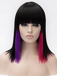 perruques de cosplay gradient noir-bang perruque propre bobo 14 pouces
