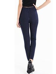Women Print Striped Darkblue Legging Polyester